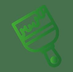 Icon-Symbol zeigt einen Pinsel zum Thema Streichen und Farbe